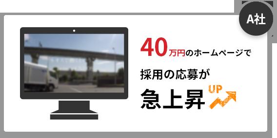 A社 40万円のホームページで 採用の応募が 急上昇