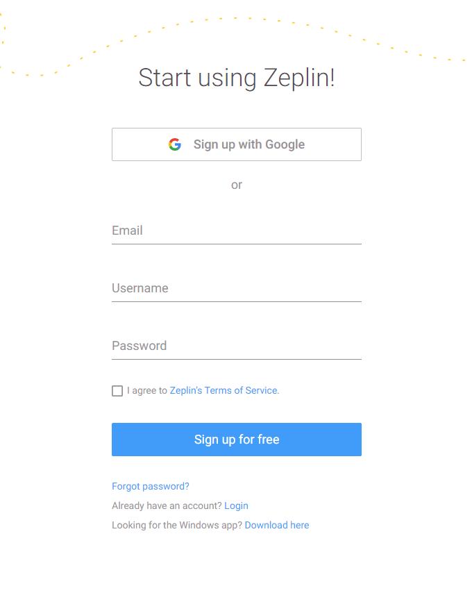 Zeplin導入手順 2. 次にユーザー登録します。