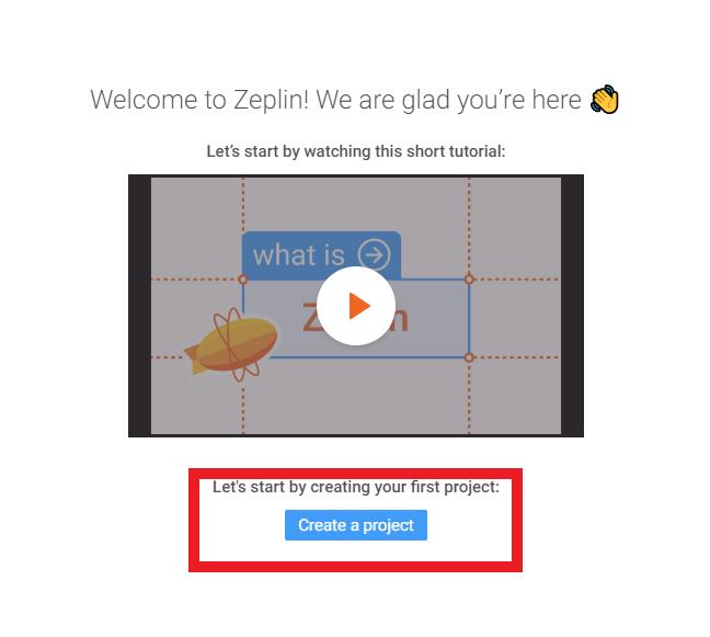 Zeplin導入手順 5. 起動したapp側で「create project」を選択します。